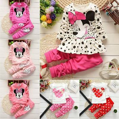 Kids Baby Girls Clothes Outfits Set Minnie Mouse Sweatshirt Top Pants Tracksuit