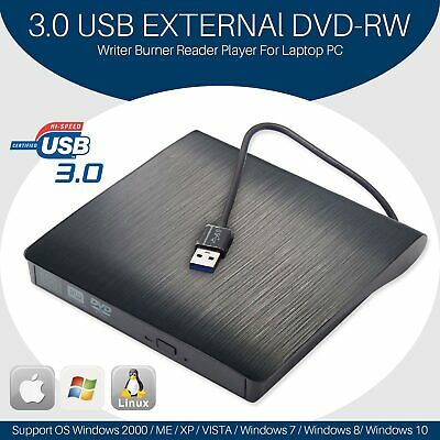 USB 3.0 Slim Portable External DVD-RW Drive Burner Reader Player For PC Laptop