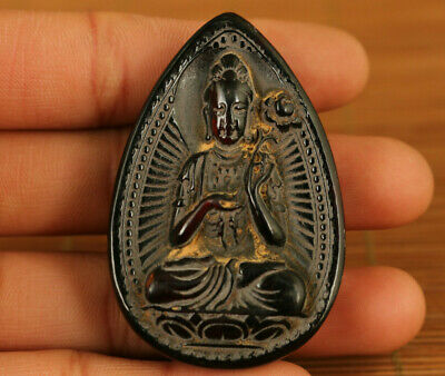 Ox horn hand-carved guanyin statue of ancient Chinese characters pendant netsuke