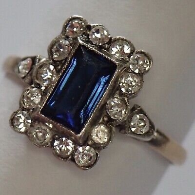 Antique Victorian Edwardian Sterling Silver 9K Gold Sapphire Crystal Paste Ring