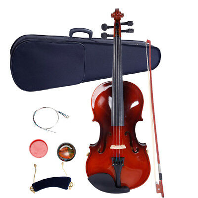 New 1/2 Size Basswood Natural Acoustic Violin Fiddle with Case Bow Rosin Set