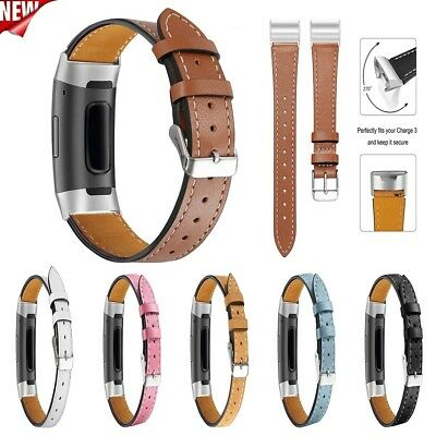 For Fitbit Charge 3 Luxury Leather Replacement Accessories Soft Wristband Straps