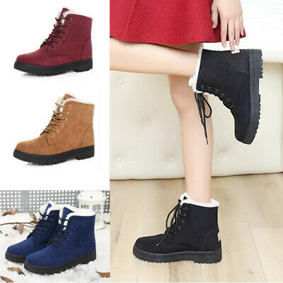 AU Women Winter Fur Lined Snow Ankle Boots Shoes Flat Lace Up Warm Round Toe