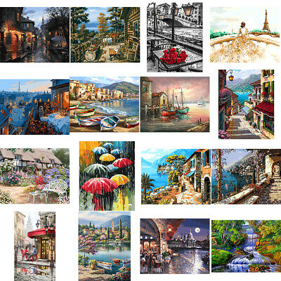 DIY Scenery Paint By Number Kit Acrylic Oil Painting Art Wall Home Decor Novelty
