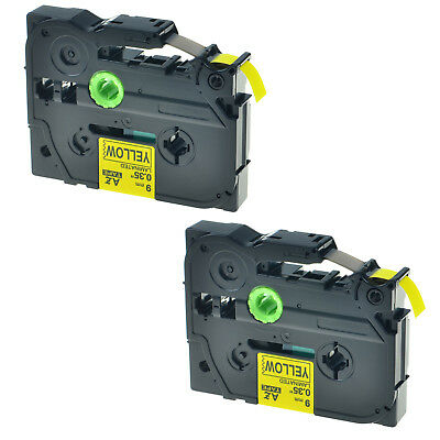 """2PK Black on Yellow TZ621 TZe621 Label Tape For Brother P-touch PT-18RKT 0.35"""""""