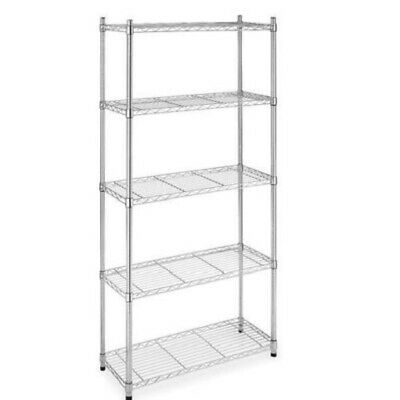 "5-Shelf Steel Wire Tier Layer Shelving 72""x36""x14"" Storage Rack 75 - Chrome -NEW"