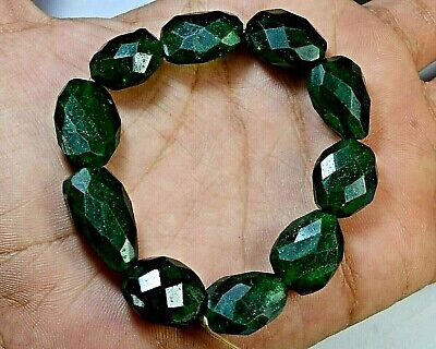 "N-2377 Aventurine Green Natural Gemstone Nugget Faceted Bead 139Ct 7"" Bracelet $"