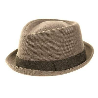 Mens Grey Porkpie Diamond Crown Trilby Hat Ribbon Band Occasionwear 2 Sizes