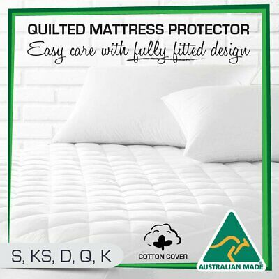 Cotton Quilted Aus Made Fully Fitted Mattress Protector Topper Bed Cover GR