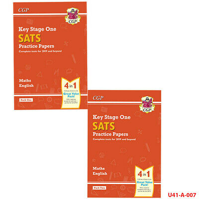 CGP Books KS1 Maths and English SATS 2019 Practice Papers 1-2 2 Books Collection