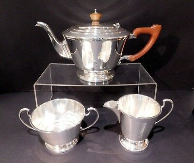 Art Deco Solid Silver 3 Piece Tea Set.....Birmingham 1947