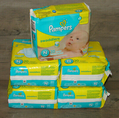 Pampers Swaddlers Diapers 20 Count Size #1  -10Lbs (Pack of 5 = 100 diapers)  ^^