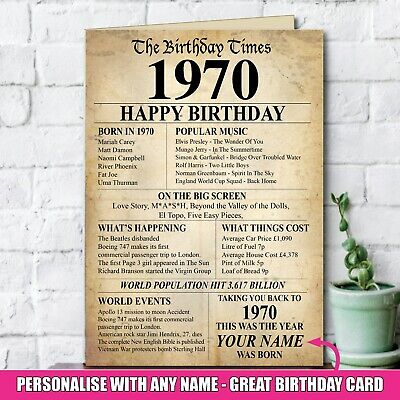 1969 50th Personalised Birthday Greeting Card Back In Edition Ago Milestone 140