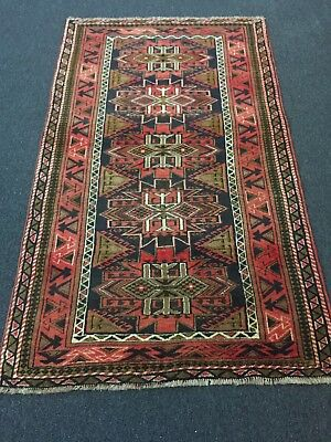 """On Sale Genuine Hand Knotted Persian Rug Geometric Brown,Navy Carpet 3'5""""x5'10"""""""