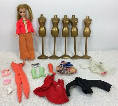 Topper Dawn Doll w/mannequin clothes shoes + accessories lot various boots mod