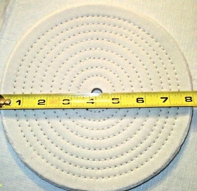 "8"" Diameter 1/2"" Thick Full Sewn Cotton Polishing Buffing Wheel 1/2"" Arbor Hole"