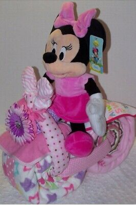 Minnie Mouse Girls Diaper Motorcycle, Unique Baby, Shower Gift Or Decoration ❤️