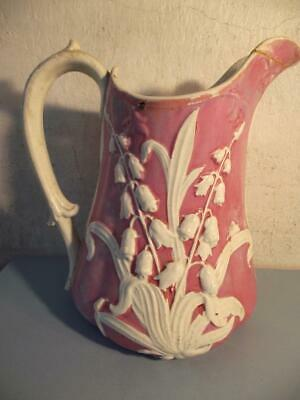 Victorian Interesting Moulded Jug Pottery Welsh/Staffordshire Lily of Valley Pat