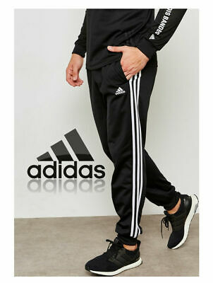 adidas Mens 3S Track Pant Black Tracksuit Bottoms Football Tapered Fit  M,L,XL