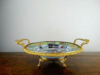 Antique Chinese Porcelain Soup Bowl Blue and White Clobbered Ormolu 18th Century