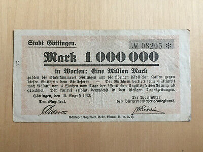GÖTTINGEN: 1 Million Mark vom 15.9.1923