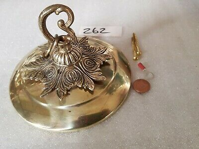 Exlarge 16cm CEILING ROSE chandelier hook FRENCH brass VINTAGE old stunning  262