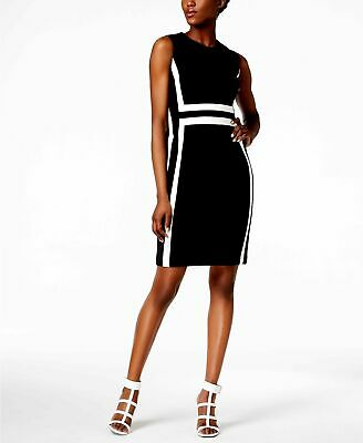 c9467811 $305 Calvin Klein Womens Navy Blue Sleeveless Color Block Sheath Dress Size  10P