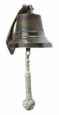 G446: Ship's Bell, Wall Bell Made of old Brass with Monkey Fist Lanyard 13 Cm