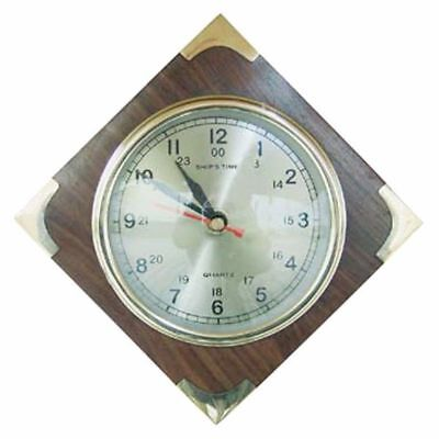 G4942: Ship Clock,Marine Wall Clock on Exotic Wood Plate with Brass Corners 18cm