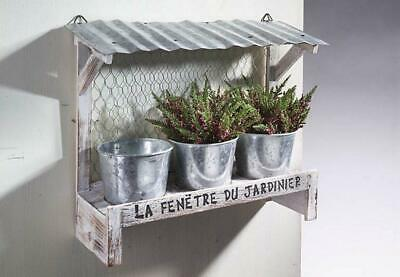G2709: Flower Bank with 3 Inserts, Covered Window Box with Sheet Metal Roof