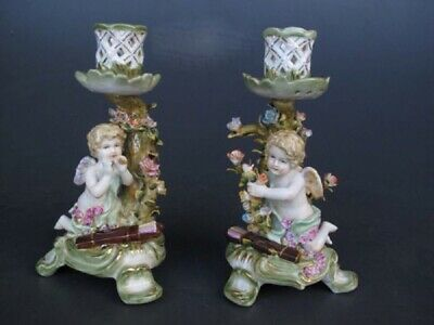 G254: Pair Baroque Porcelain Lights,Candlestick with Angels and Flower