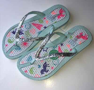 590eb22e3aab New Girls Capelli Silver Unicorn Glitter Flip Flops Sandals Summer Size 1 2