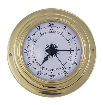 Ship's Clock, Bootsuhr, Maritime 24 Hours Watch in Brass Case Ø 10 CM