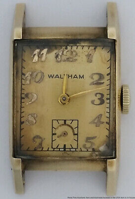 Vintage Art Deco Long Curved Waltham 14k Solid Gold Mens Wrist Watch