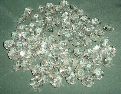 Old Lot 75 Pcs Large Crystal Cut Drops Octagonal Buttons Chandelier Spare Parts
