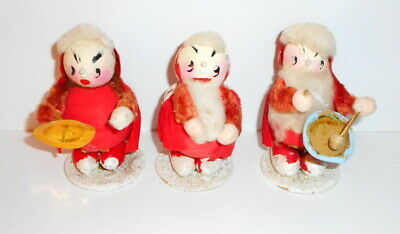 Vtg Christmas SANTA CLAUS Figures 3 Paper Mache Cotton Batting Chenille Japan