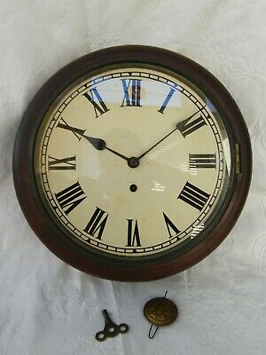 Antique-Georgian Wall Clock With Replacement New Haven Clock Movement-GWO-c1820s