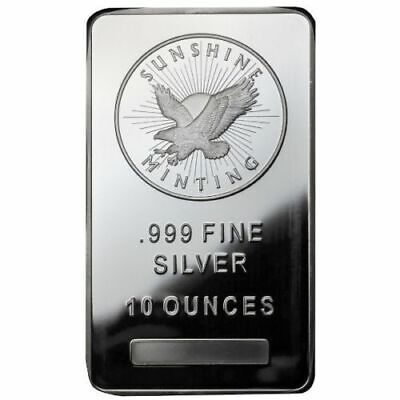 10 Troy oz Sunshine .999 Silver Bullion Bar  MintMark SI Ten