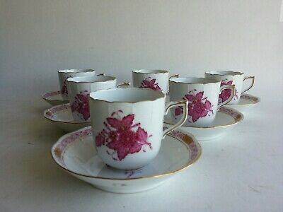 Set of 6 Herend Porcelain Cup and Saucer Apponyi Chinese Bouquet 708