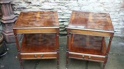 A pair of mahogany bedside / side lamp tables