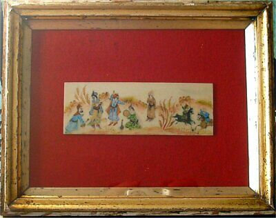 Vintage Hand Painted Persian Miniature on Camel Bone Musicians & Polo Players