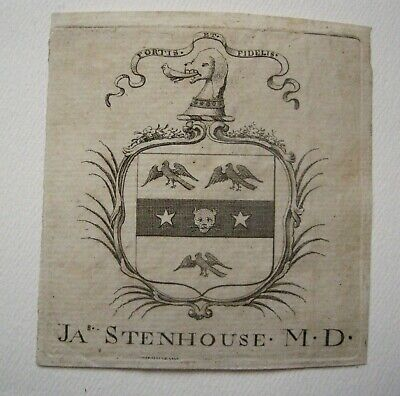 Antique Georgian Engraved Armorial Book Plate James Stenhouse MD c1800