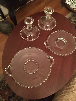 IMPERIAL GLASS CANDLEWICK CANDLE HOLDERS 2- Different Size Handled Plates Lot