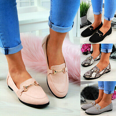 New Womens Flat Pumps Embellished Slip On Loafers Ballerinas Casual Shoes Sizes