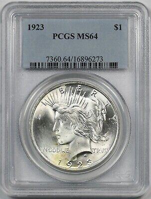 1923 $1 PCGS MS 64 Peace Silver Dollar