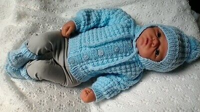 """Hand Knitted Blue  Cardigan Set for 19""""-22"""" reborn/0-3 months baby boy"""