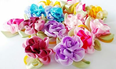10Pcs Rose Pet Puppy Hair Bows Dog Cat Mixed Flowers Grooming Hair Accessories