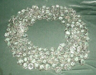 Old Lot 186Pcs Large Crystal Cut Drops Octagonal Buttons Chandelier Spare Parts
