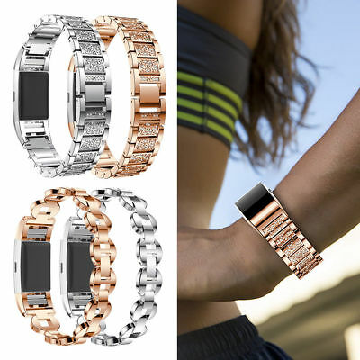 Crystal Stainless Steel Watch Band Wrist Strap For Fitbit Charge 2 Smart Watch