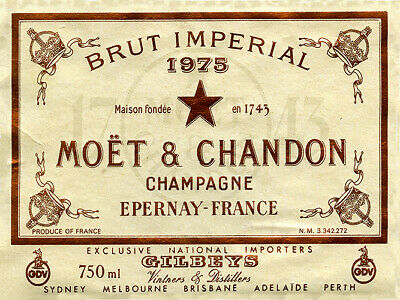 Vintage Brut imperial Moet and Chandon champagne label reproduction sign